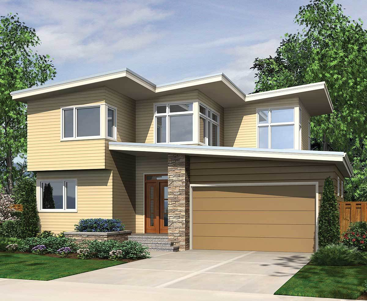 Front rendering of the house showcasing the horizontal lap siding, wooden glass entry door, and a double garage.