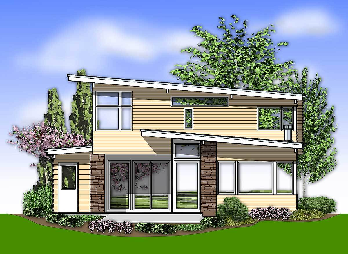 Rear elevation sketch with angled rooflines, stone accents, and plenty of glass windows and doors.