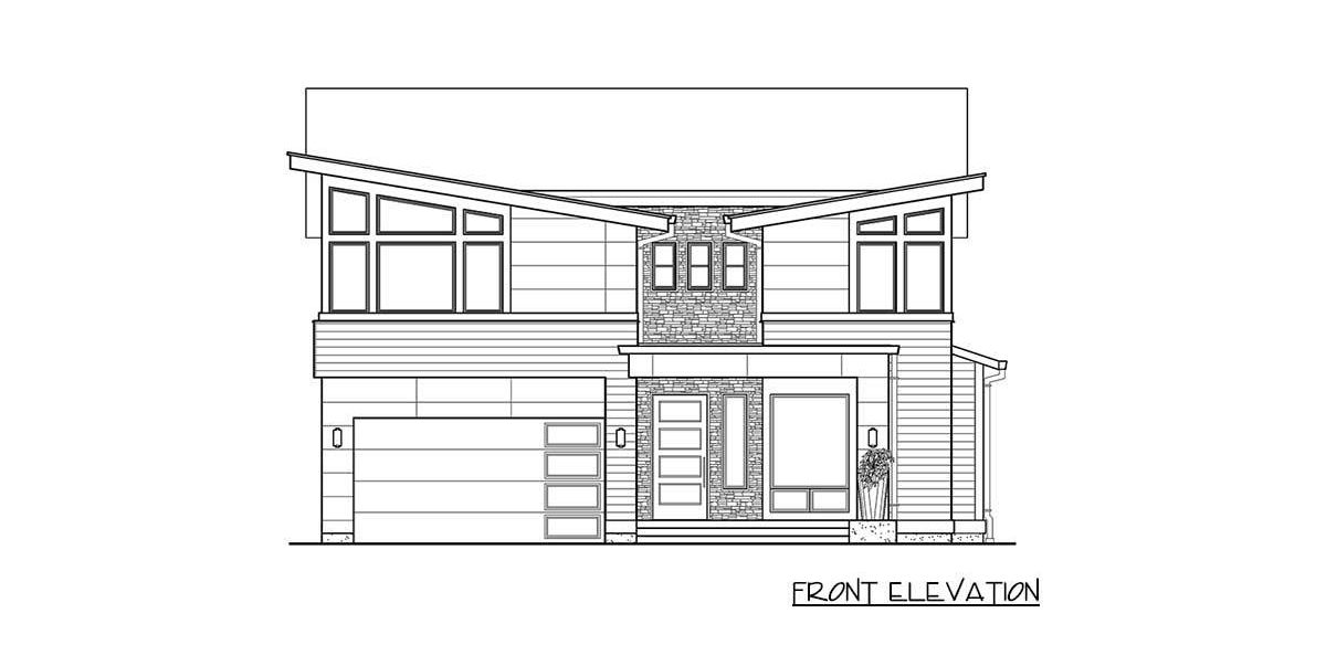 Front elevation sketch of the 4-bedroom two-story modern home.