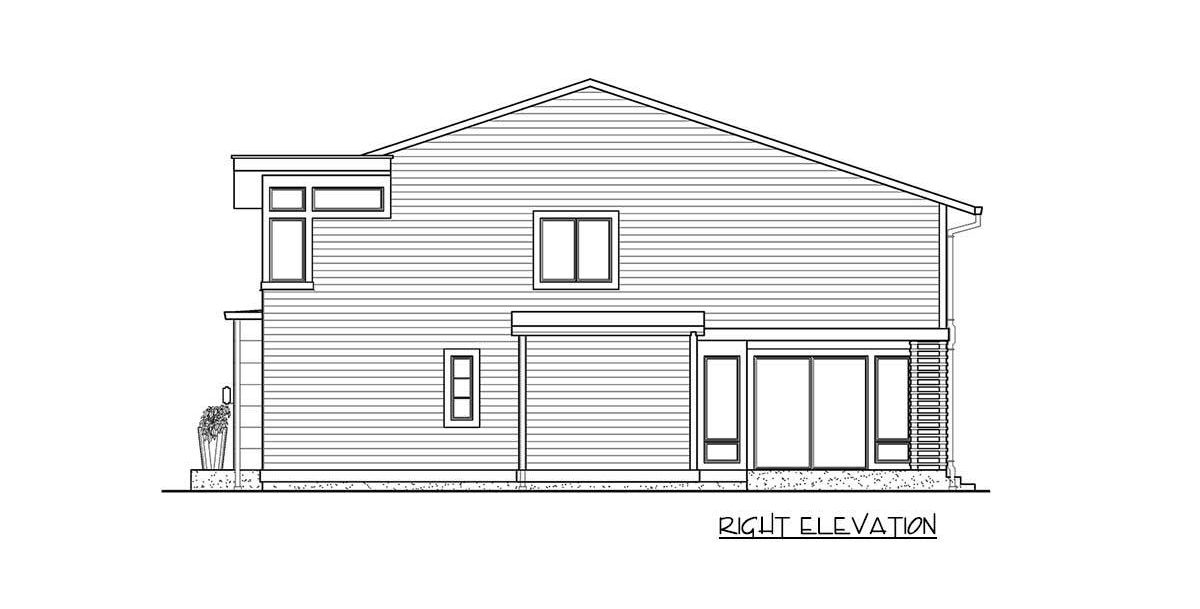 Right elevation sketch of the 4-bedroom two-story modern home.