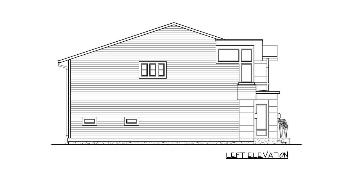 Left elevation sketch of the 4-bedroom two-story modern home.