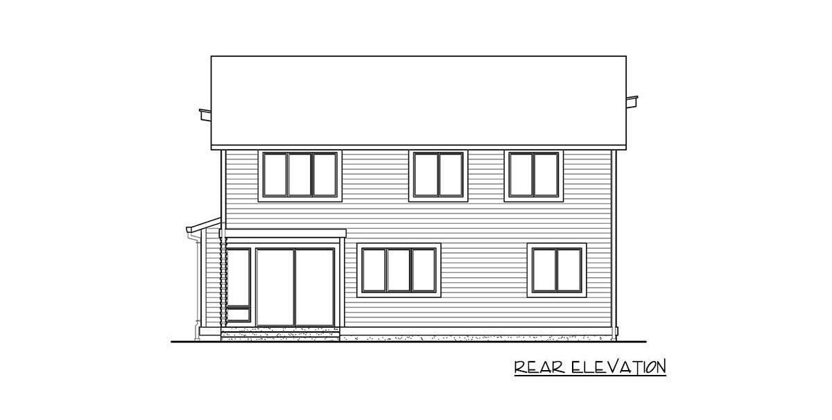 Rear elevation sketch of the 4-bedroom two-story modern home.