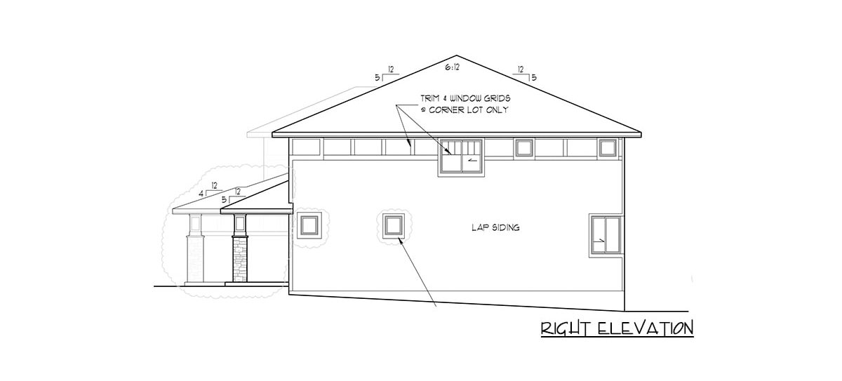 Right elevation sketch of the 4-bedroom two-story modern prairie home.