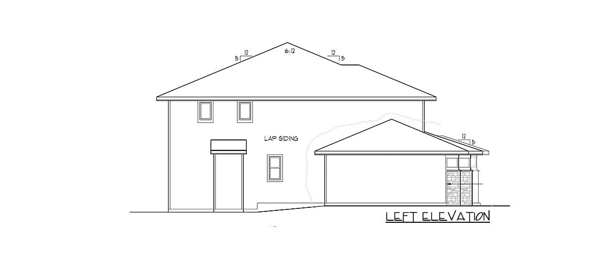Left elevation sketch of the 4-bedroom two-story modern prairie home.