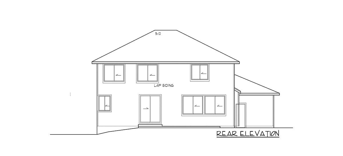 Rear elevation sketch of the 4-bedroom two-story modern prairie home.
