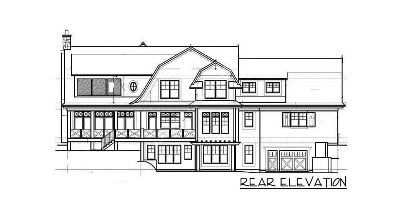 Rear elevation sketch of the 4-bedroom two-story shingle-style home.