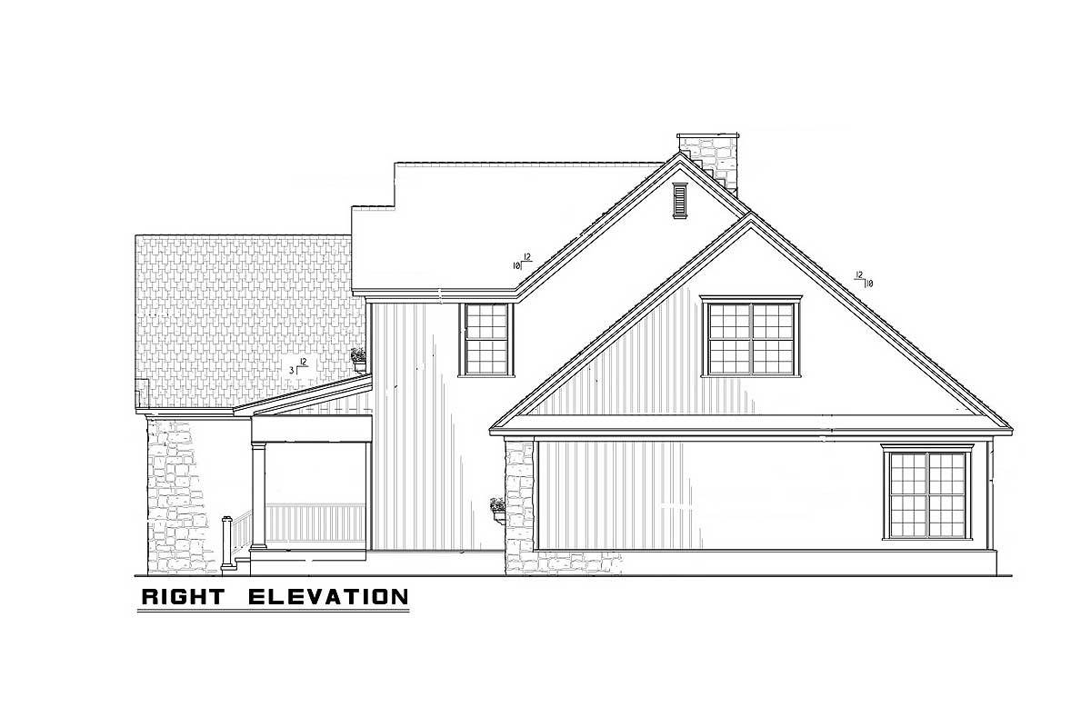 Right elevation sketch of the 4-bedroom two-story traditional home.