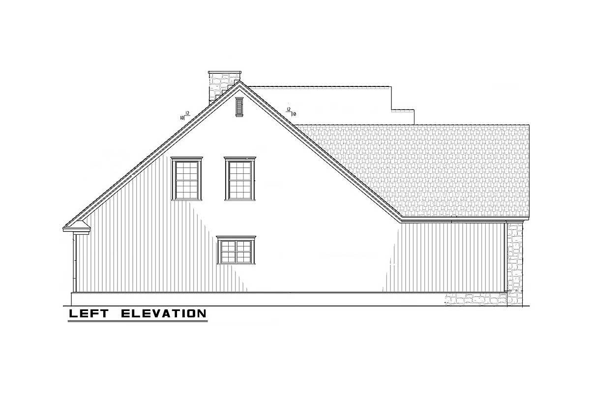 Left elevation sketch of the 4-bedroom two-story traditional home.