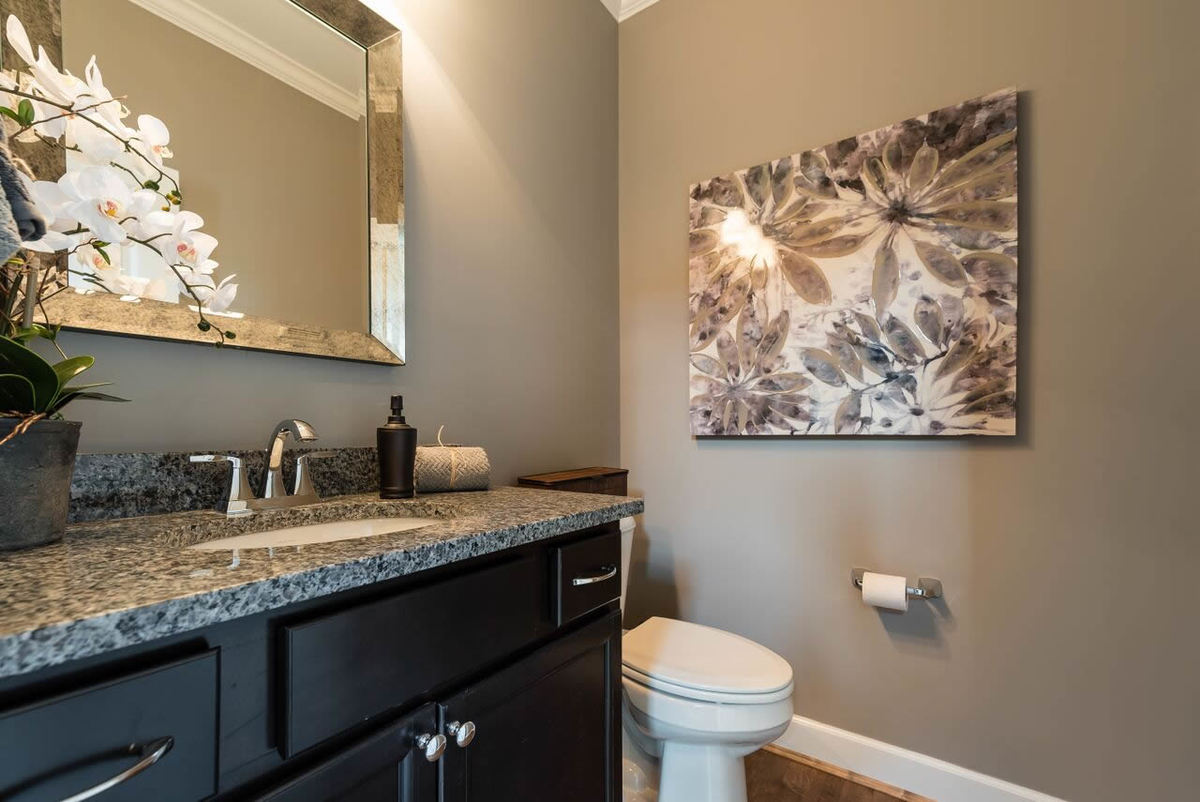 The guest bathroom is equipped with a toilet and a sink vanity paired with a chrome framed mirror.