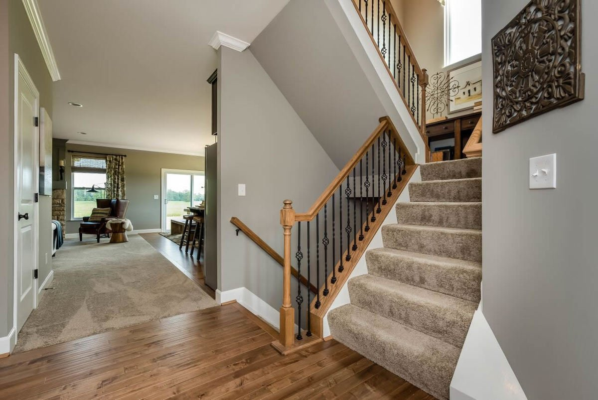 Foyer with hardwood flooring and a carpeted staircase leading to the sleeping quarters and basement.