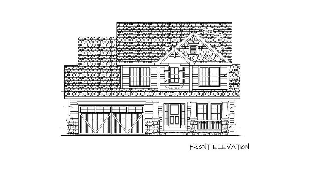 Front elevation sketch of the 4-bedroom two-story traditional home.