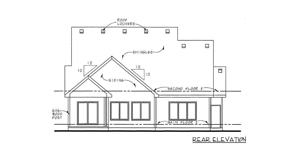 Rear elevation sketch of the 4-bedroom two-story traditional home.