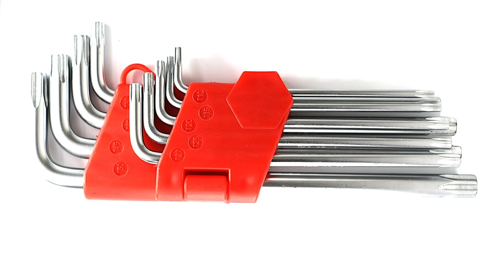 A set of differently-sized allen wrench.