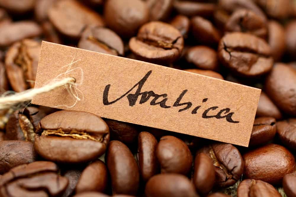 "Coffee beans with label ""Arabica""."