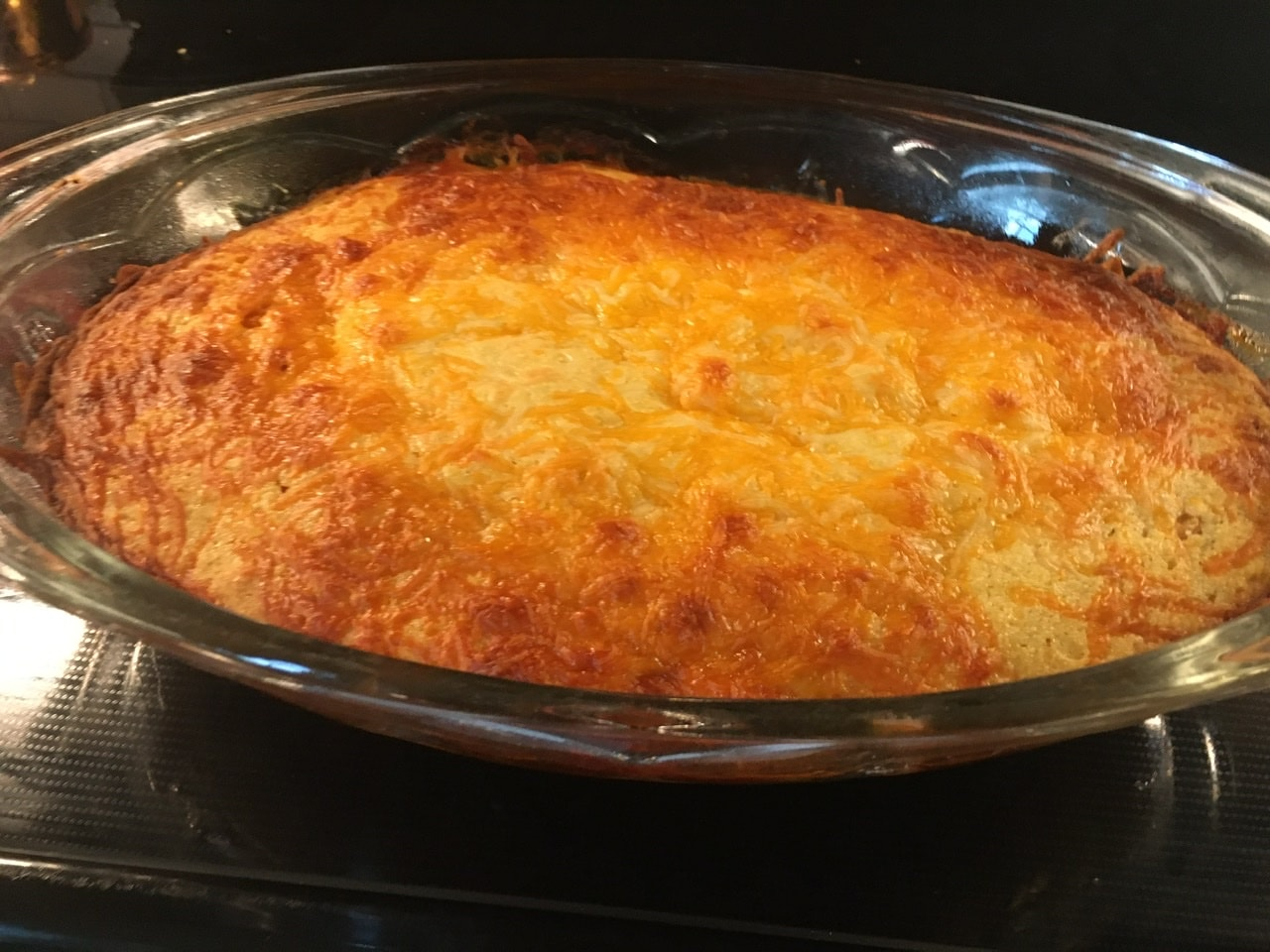 Casserole baked to golden brown.