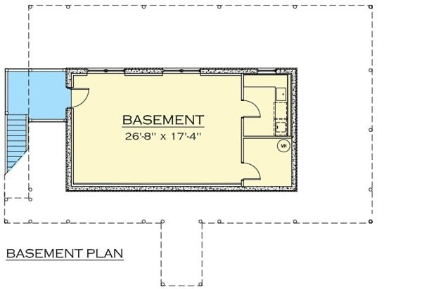 Basement floor plan with a laundry and bonus room.