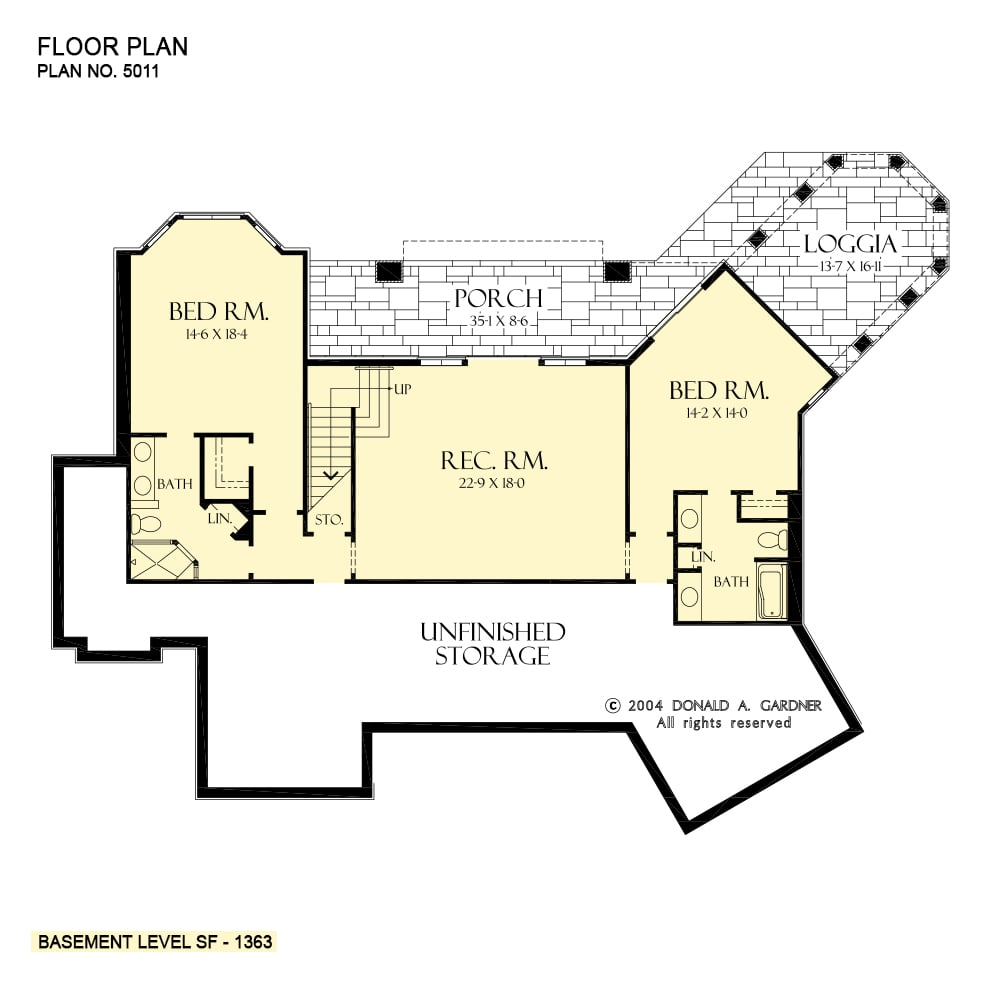 Lower level floor plan with two bedrooms, a rec room, and expansive unfinished storage.