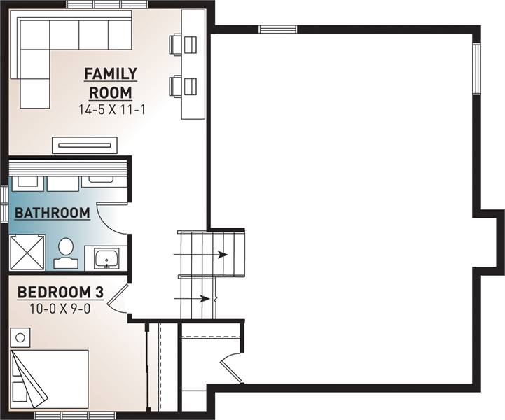 Basement floor plan with an additional bedroom, a full bath, and a family room.