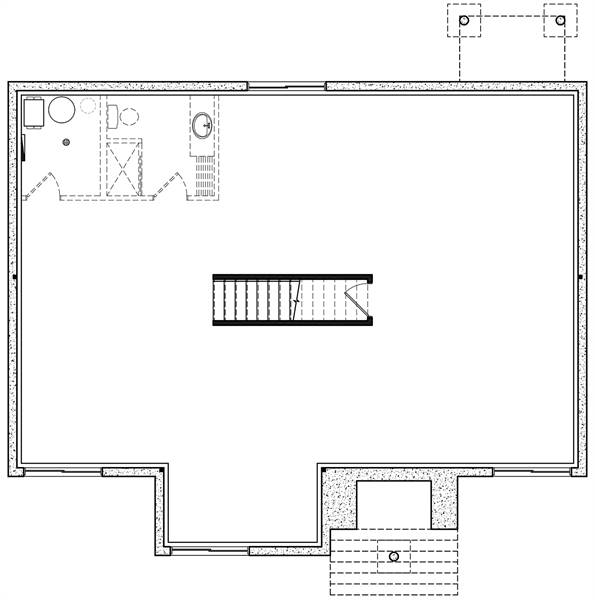 Basement floor plan with a bath and a large unfinished space.