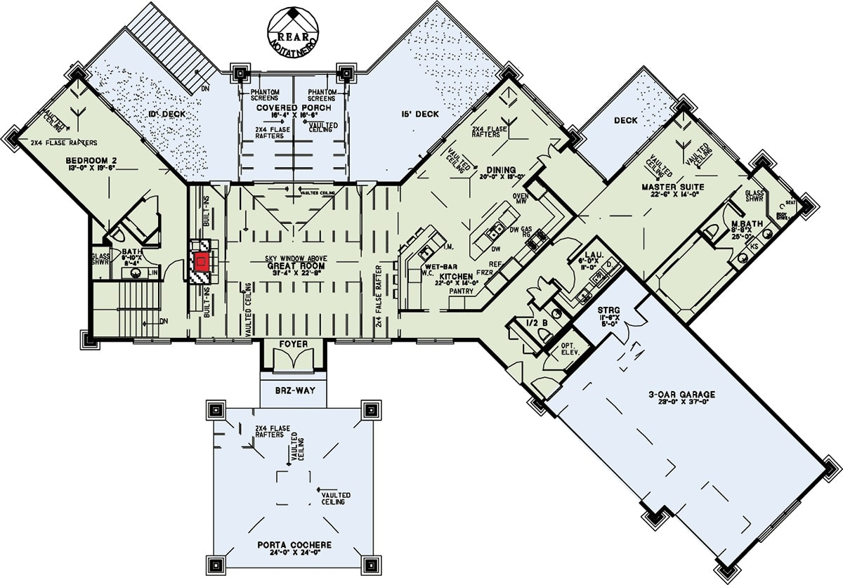 Main level floor plan of a 4-bedroom single-story prairie style home with foyer, great room, kitchen, dining area, two bedrooms, laundry room, and an angled garage.