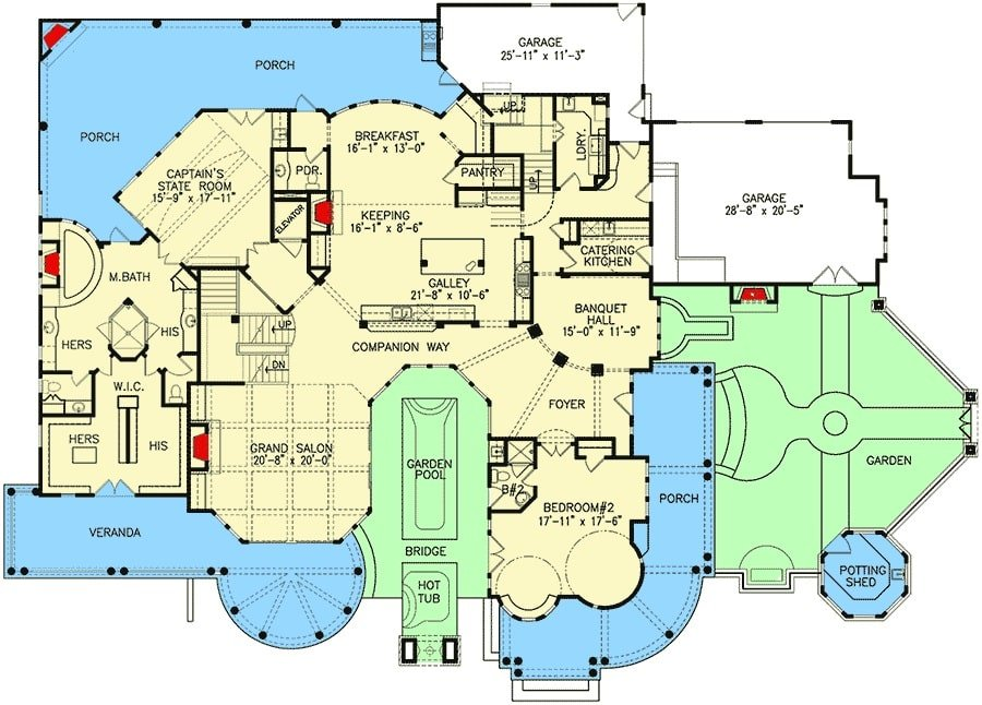 Basement floor plan of a 6-bedroom two-story shingle-style home with a grand salon, keeping room, breakfast area, galley kitchen, catering kitchen, banquet hall, and two bedrooms including the primary bedroom.