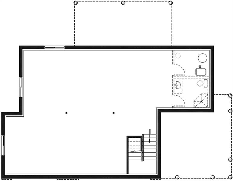 Basement floor plan with a full bath and a large unfinished space.