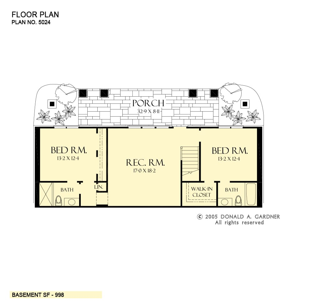 Lower level floor plan with a large rec room and two bedrooms, each with their own bath and walk-in closet.