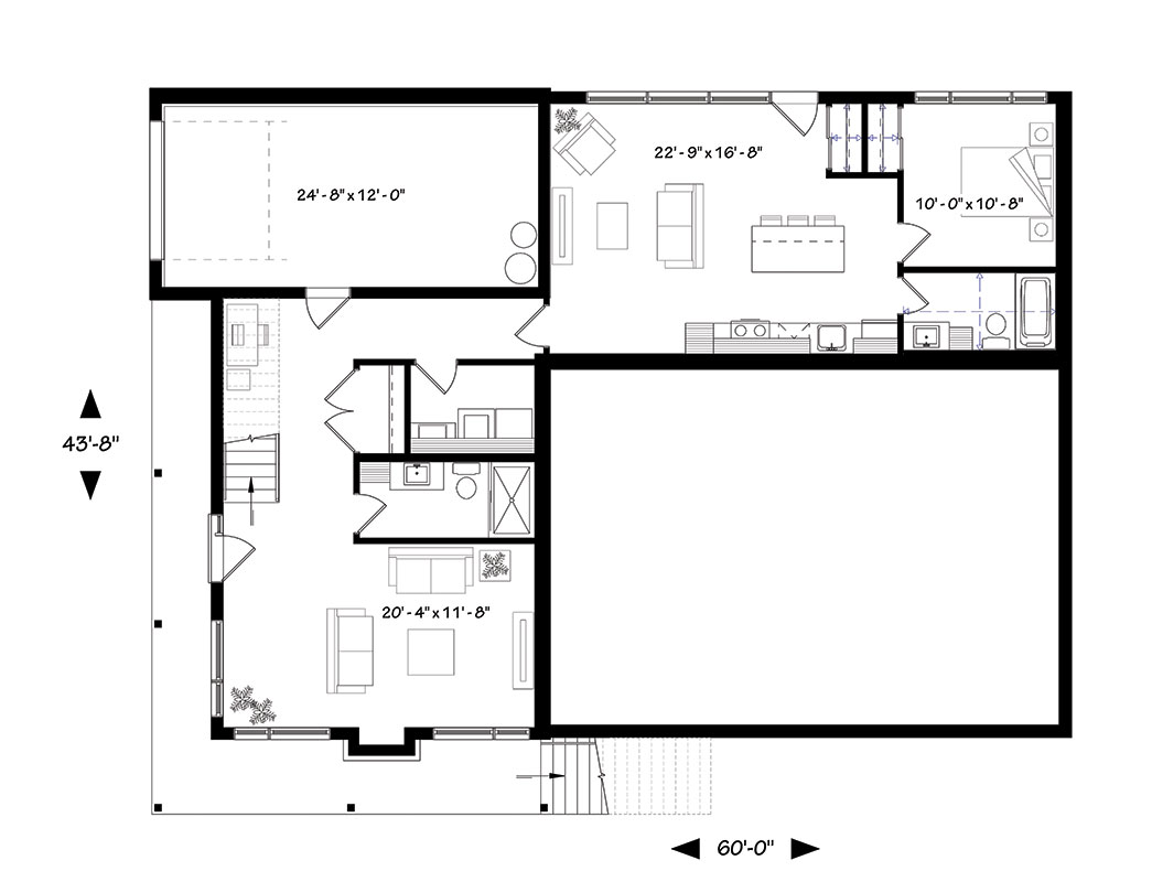 Basement floor plan with family room and a full apartment.