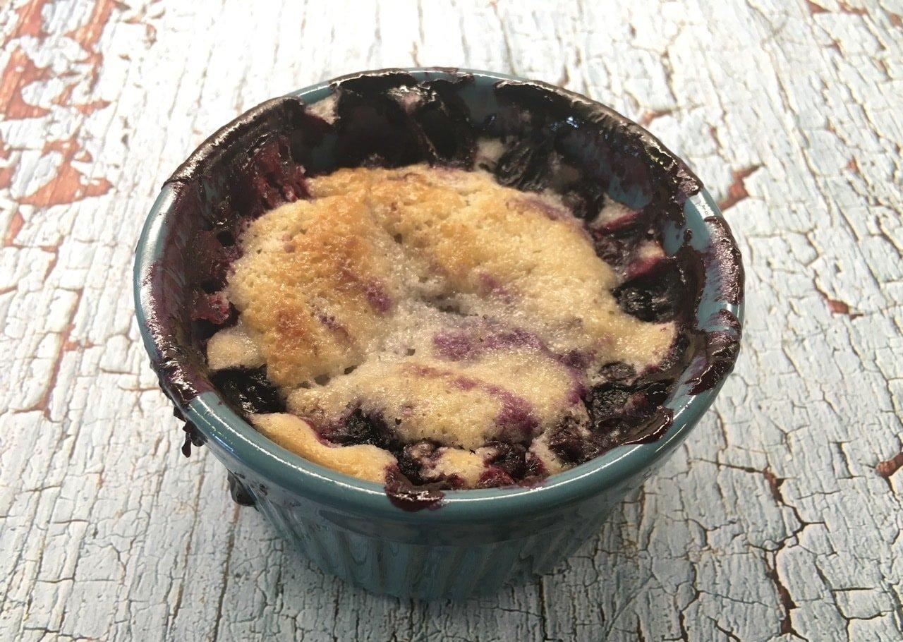 Freshly baked berry cobbler.