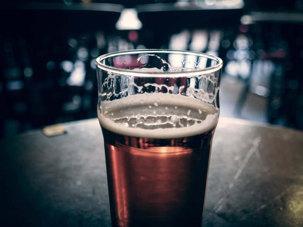 A glass of bitter beer