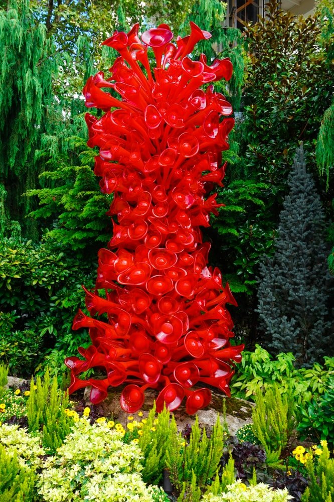 A cluster of red blown glass installation at Chihuly Garden and Glass Museum.