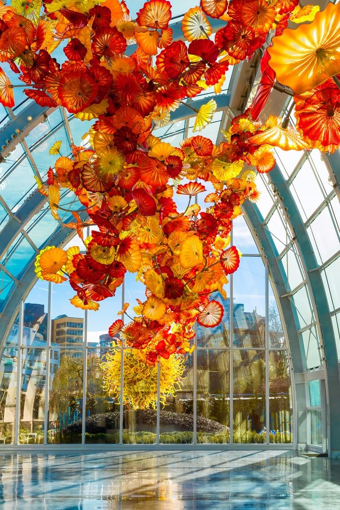Stepping back to take in the full grandeur of Chihuly's Glasshouse Sculpture.