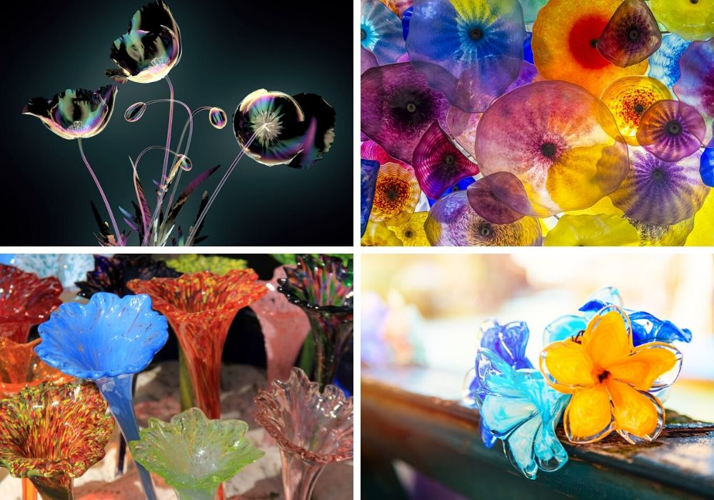 A variety of colorful glass flowers.