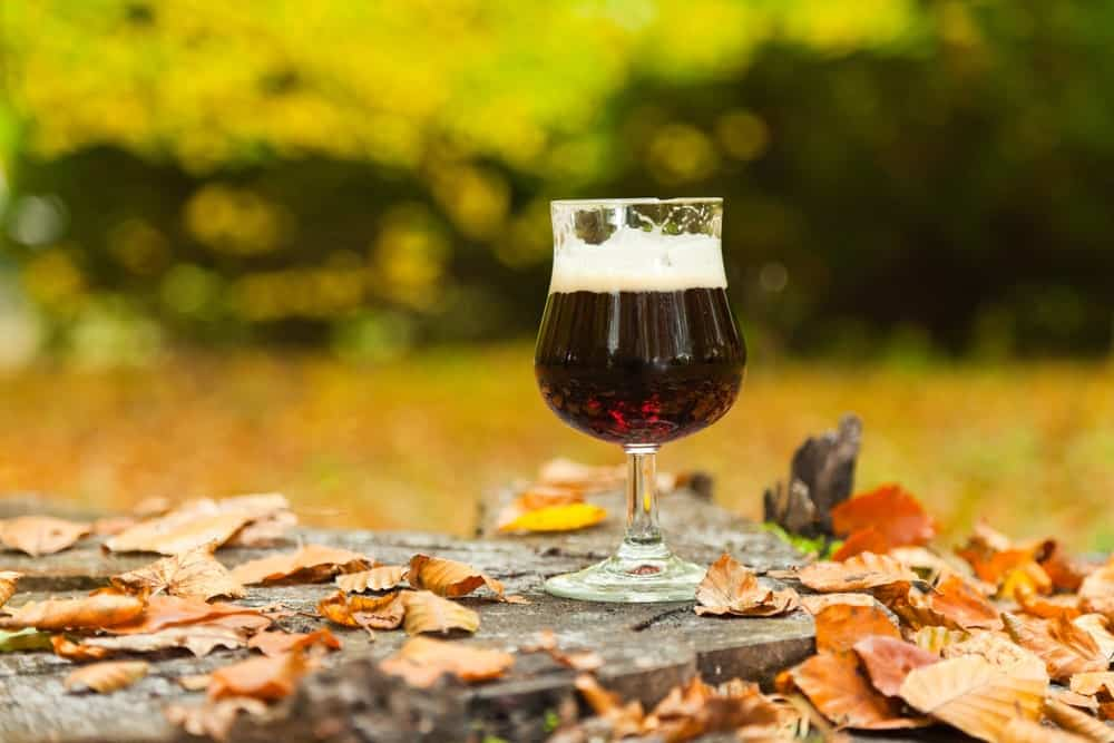 Bock Lager on a concrete floor covered in autumn leaves.