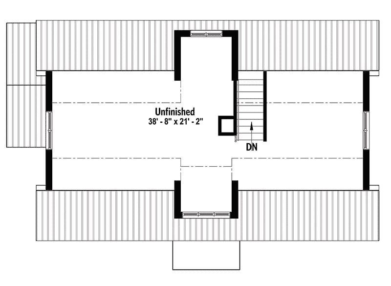 Second level floor plan with an unfinished bonus room.