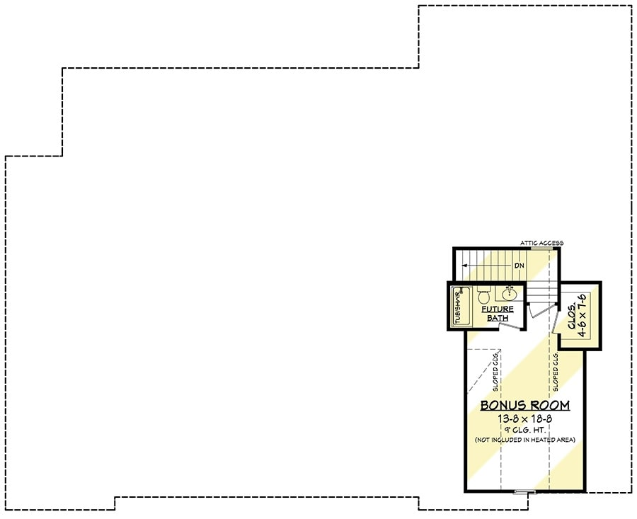 Bonus level floor plan with a large bonus room, a future bath, and a walk-in closet.