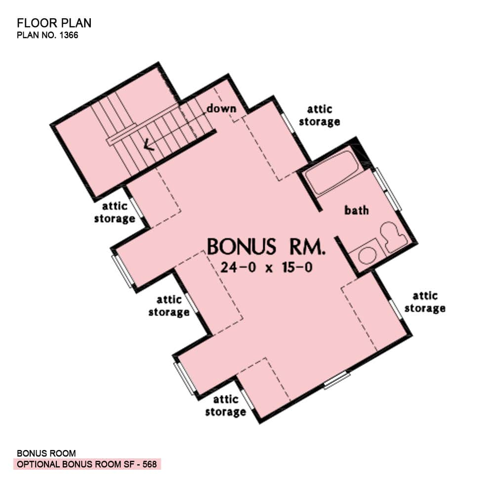 Bonus room floor plan with a bath, attic storage, and a staircase leading down the main floor.