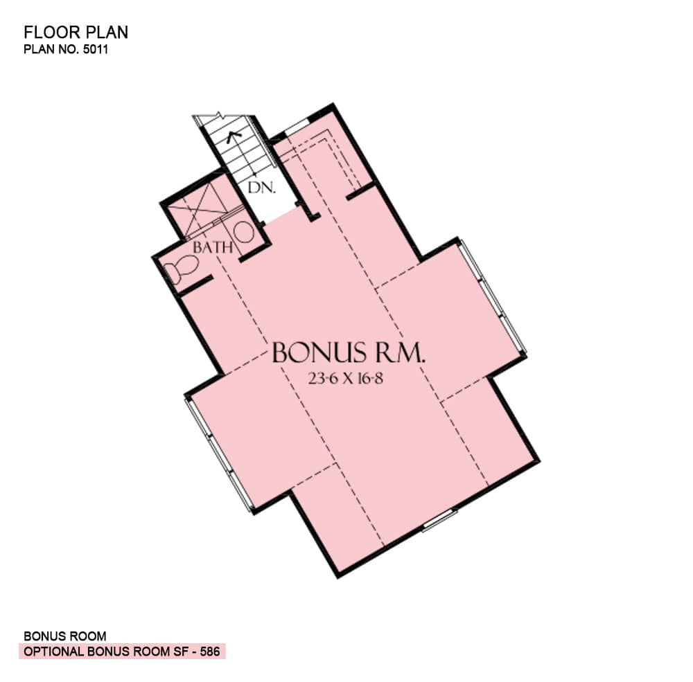 Bonus room floor plan with a half bath and boxed bay windows that bring ample natural light in.