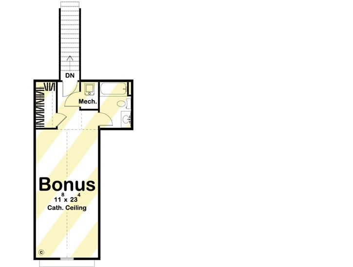 Bonus room floor plan with a full bath, walk-in closet, and mechanical room.