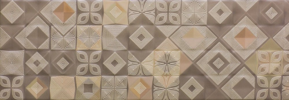 Ceramic kitchen tile with abstract pattern.