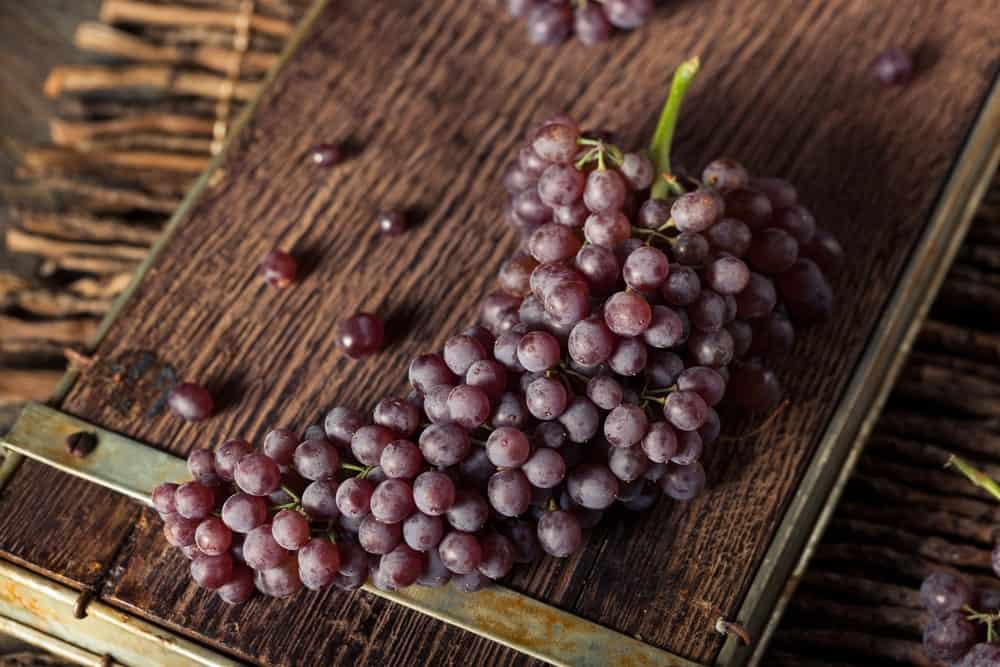 Champagne grapes on a rustic board.