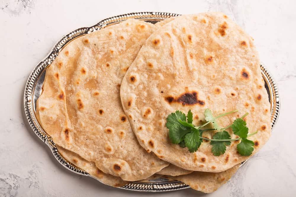 A plate of Chapati bread.