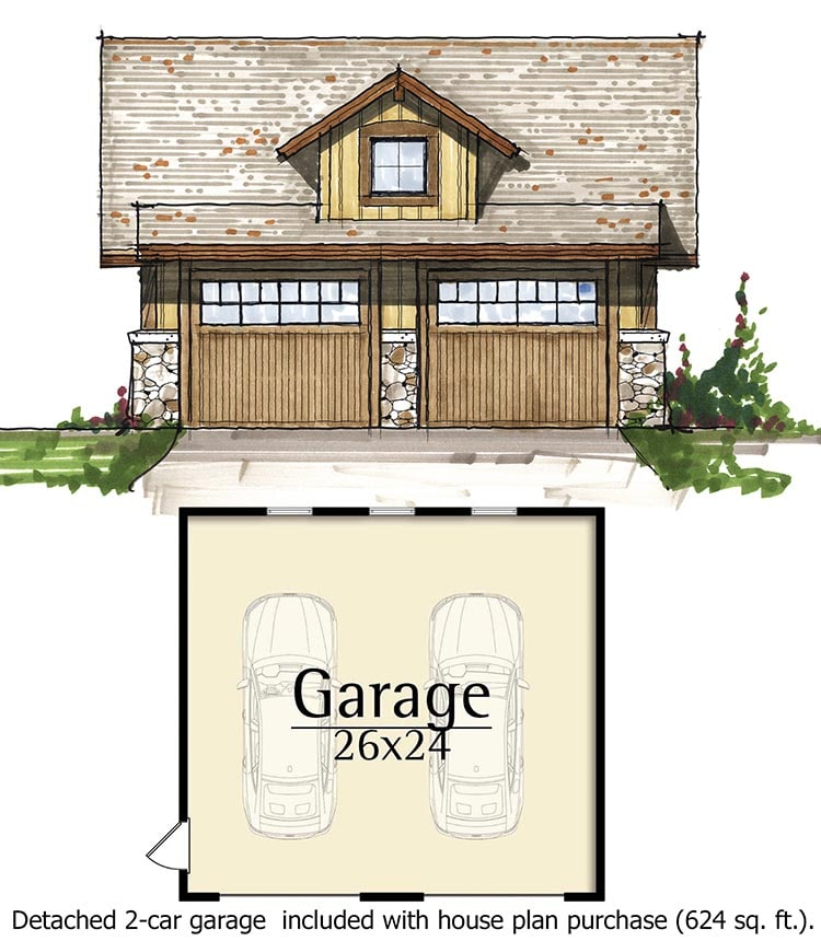 Detached garage that can fit two cars comfortably.