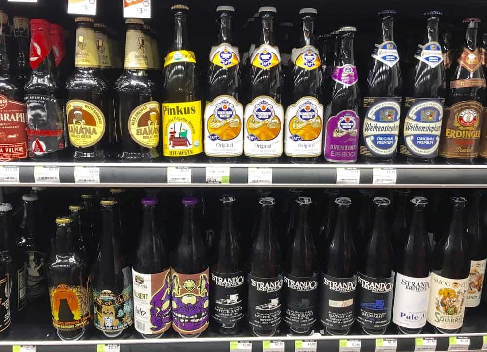 Display of Eisbock beers in a store.