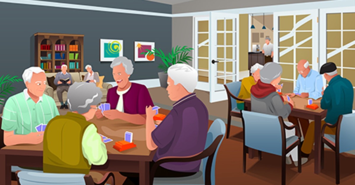 Vector image of elderly people in a care home playing card games.