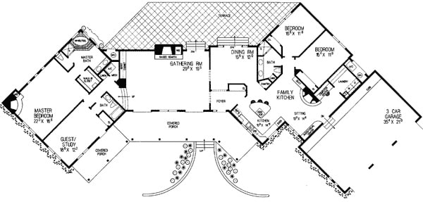 Entire floor plan of a 4-bedroom single-story adobe style home with expansive covered front porch, three-car garage, kitchen, formal dining room, gathering room, and four bedrooms including the primary bedroom and the flexible study/guest room.