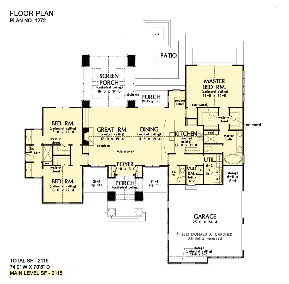 Main level floor plan of a single-story 3-bedroom The Clearlake modern home with great room, dining area, kitchen, pocket office, utility, three bedrooms, and lots of outdoor space including a screened porch along with front and rear patios.