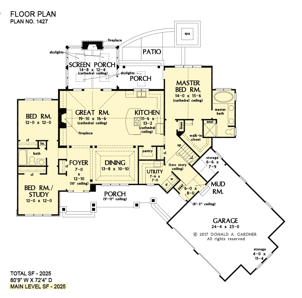 Entire floor plan of a single-story 3-bedroom The Oliver home with front and back porches, formal dining room, great room, kitchen, three bedrooms, utility, and a mudroom that leads to the angled garage.