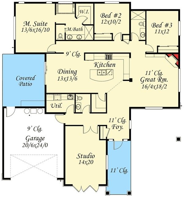 Entire floor plan of a single-story 4-bedroom prairie home with a studio, utility, great room, kitchen, dining area, three bedrooms, and a covered patio accessible by the double garage.