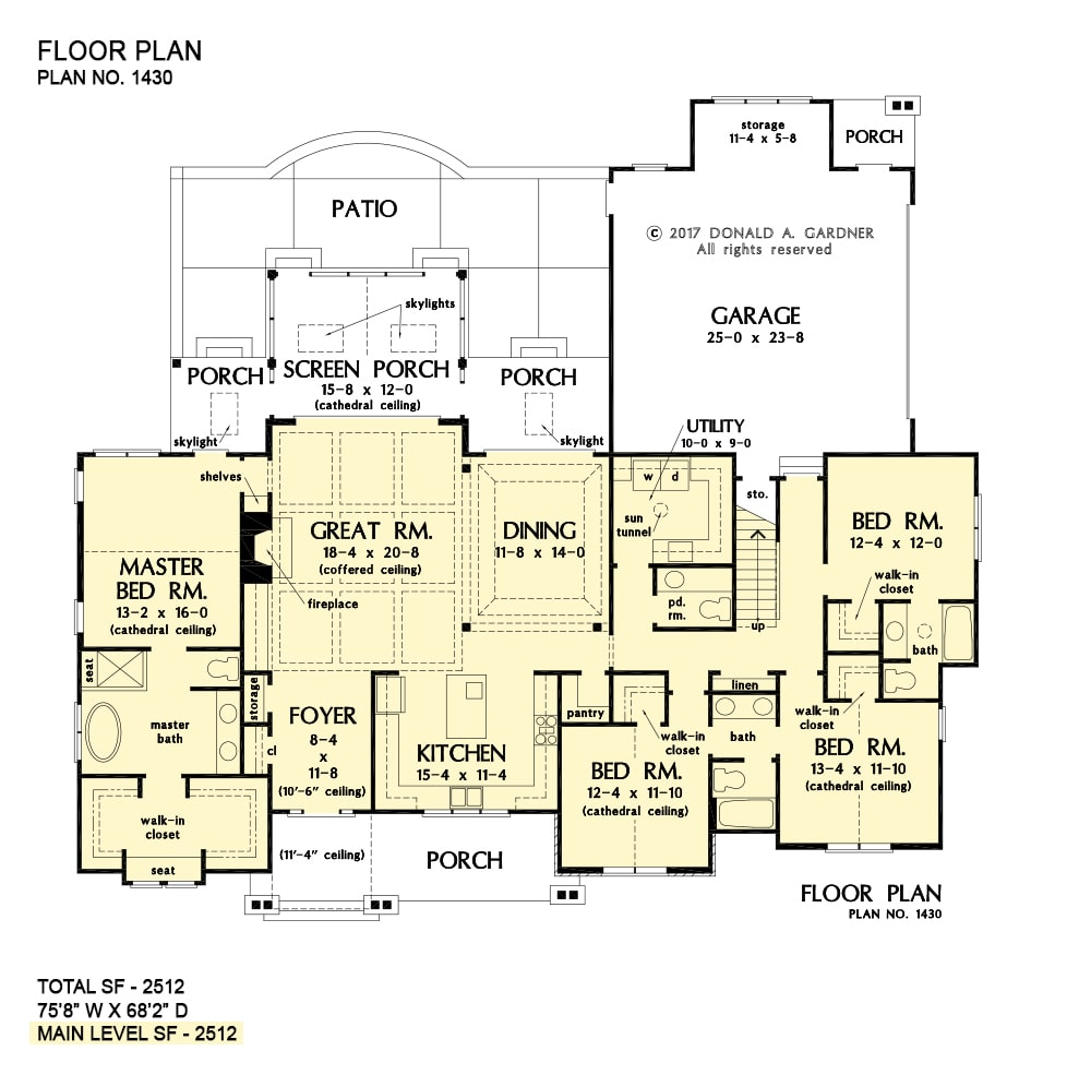 Entire floor plan of a single-story 4-bedroom The Fletcher home with front and rear porches, foyer, kitchen, formal dining area, utility, four bedrooms, and a coffered great room that opens out to the screened porch.